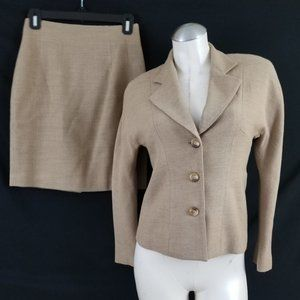 Casual Corner Size 2P Brown Skirt Suit Wool Blend